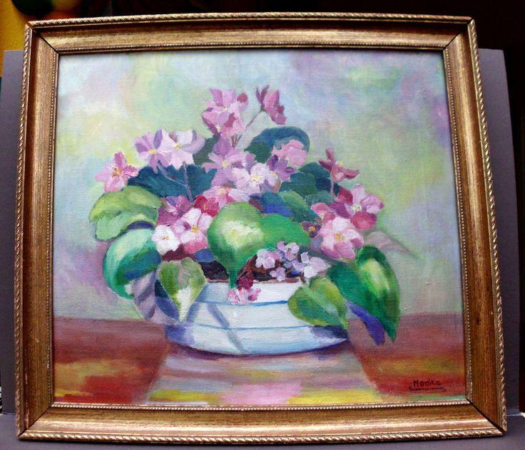 Ölbild-Expressives Blumen Veilchen-Stiefmütterchen-Stilleben-Gold RahmenRahmen