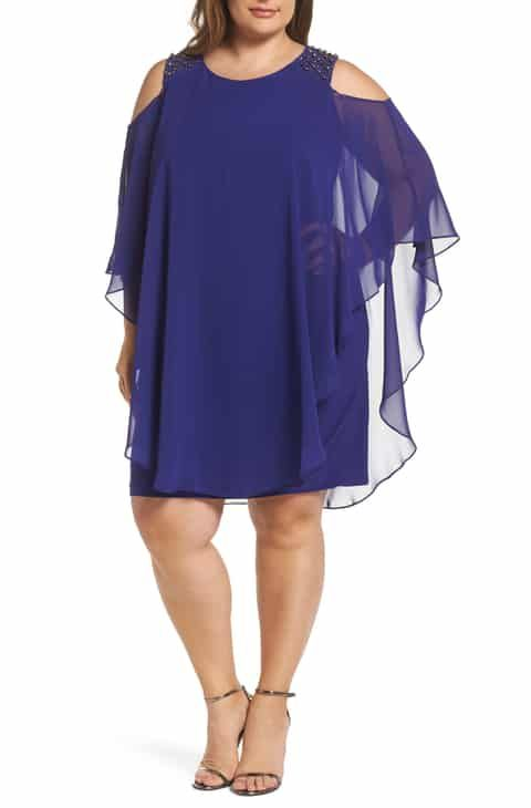 3f8a5d4f214d Save the Xscape Cold Shoulder Chiffon Overlay Cocktail Shift Dress (Plus  Size)