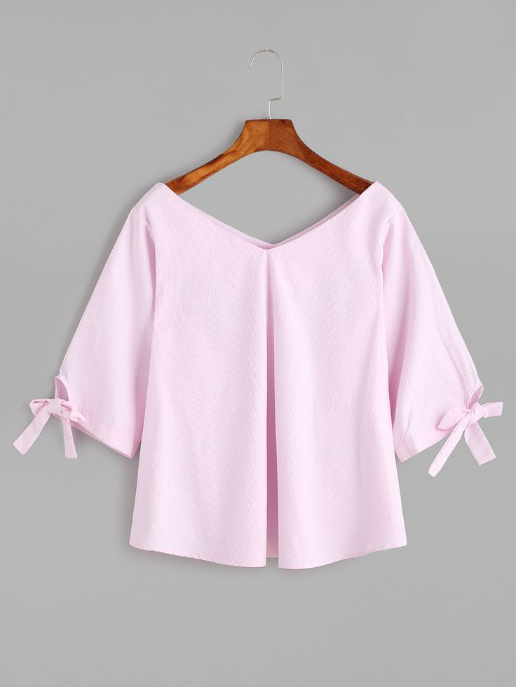 Shop Pink Double V Neck Sleeve Tie Detail Blouse online. SheIn offers Pink Double V Neck Sleeve Tie Detail Blouse & more to fit your fashionable needs.