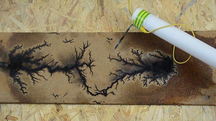 Wood burning with Lichtenberg figures - High voltage discharge tracks