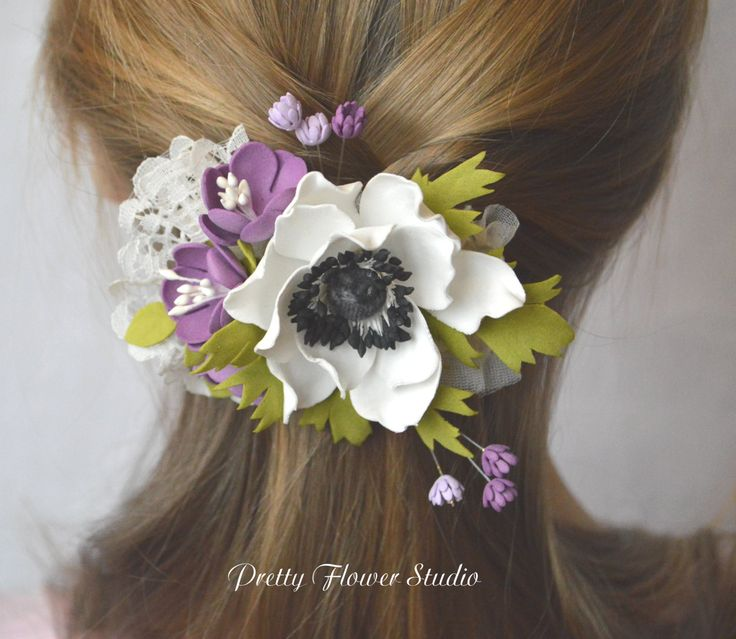 Flower Hair Barrette, Flower Hair clip, Hair Accessory, Barrette with White Anemone,Hair Accessory,Floral Headpiece, Flowers, Gift for Her, - pinned by pin4etsy.com