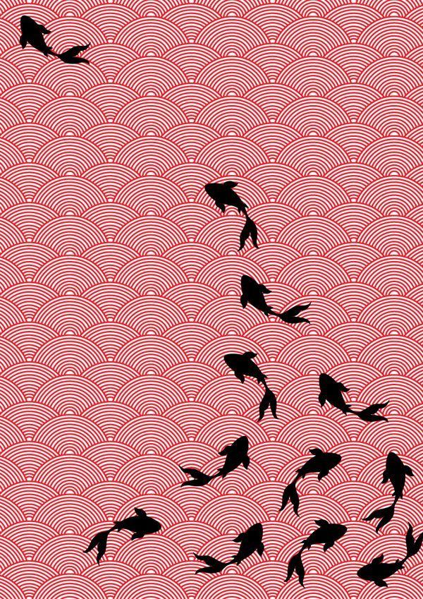 Aziatische stijl stof design- Koi motief door Choomi Kim, via Behance