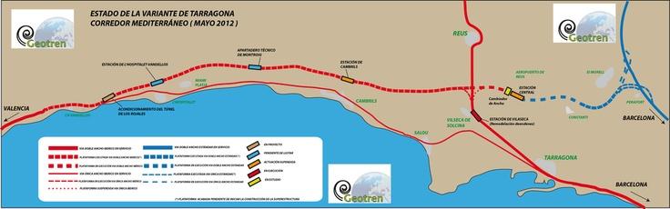 Estado del corredor mediterraneo en la variante de tarragona a fecha de mayo de 2012