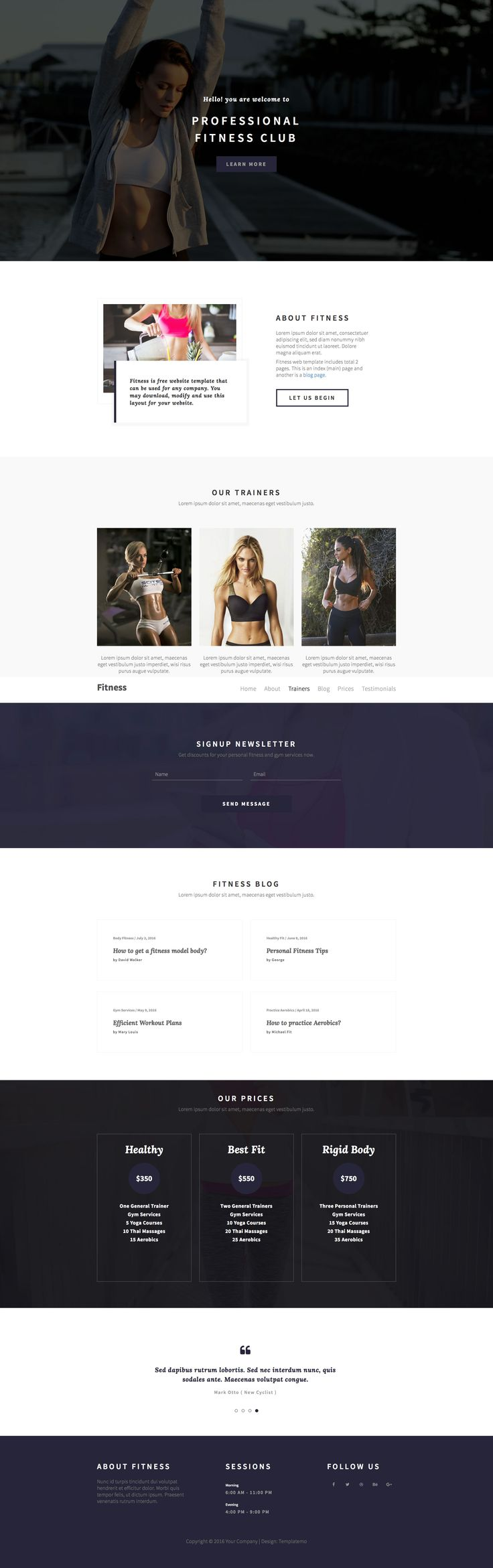 fitness is a clean and beautiful classic html5 bootstrap one page website template that suits for