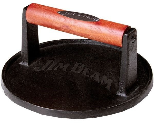 Jim Beam - Cast Iron Burger Press with Wood Handle