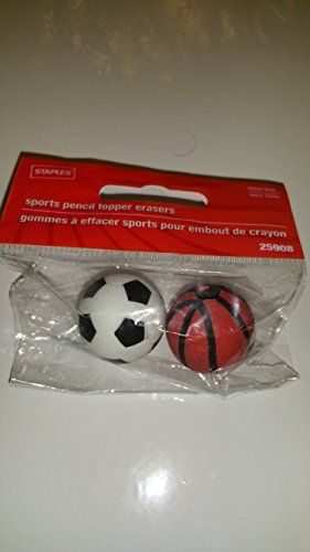Staples Sports Ball Eraser Toppers  Soccer Balls  Basketball Model 25908 2 Balls Per Pack * To view further for this item, visit the image link.Note:It is affiliate link to Amazon.