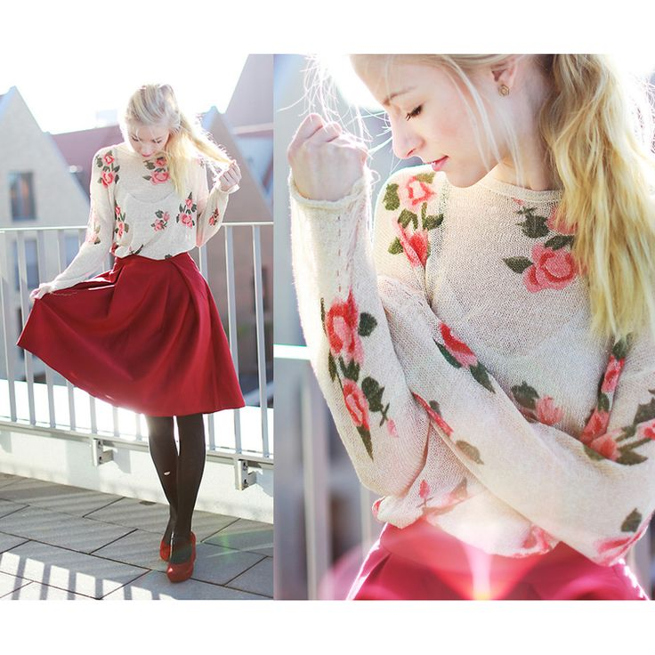 Wine red skirt with floral top