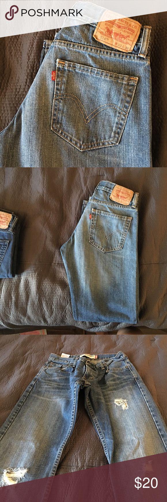 Levi's 514 distressed Levi's 514,  blue denim, size 30/30 slim straight a little bit of a distressed look.euc Levi's Jeans Slim Straight