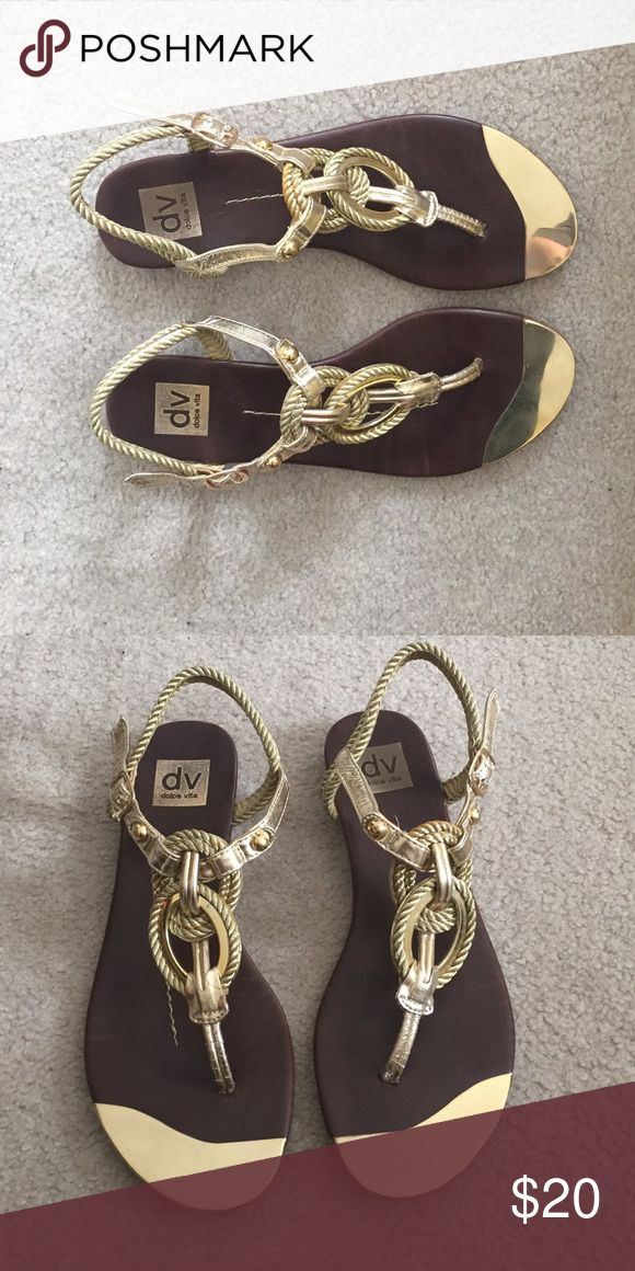 Gold flat nautical sandals Worn to a bunch of  summer weddings and everyone loved them. Already broken in. Offers welcome. Dolce Vita Shoes Sandals