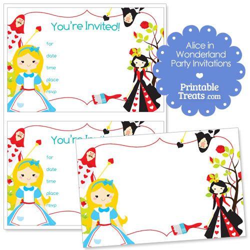 Best Alice In Wonderland Party Printables Images On Pinterest - Free birthday invitations alice in wonderland