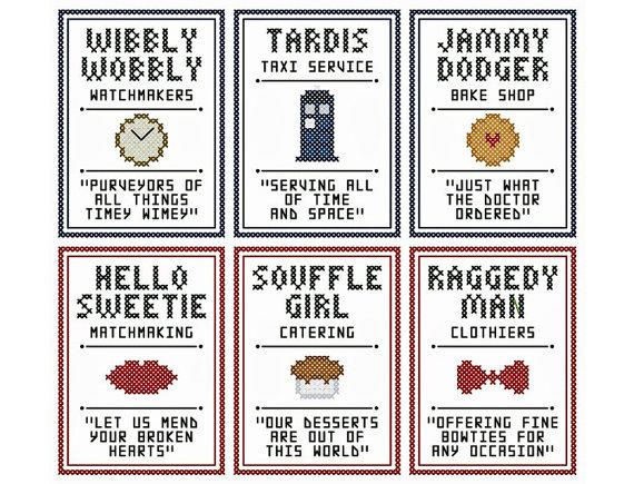 """Set of Six Doctor Who Inspired """"LITTLE SHOP"""" SIGNS Cross Stitch Charts from neverdyingpoet on Etsy. Saved to Doctor Who?. #craft #diy #crossstitch #popculture #geek #doctorwho."""