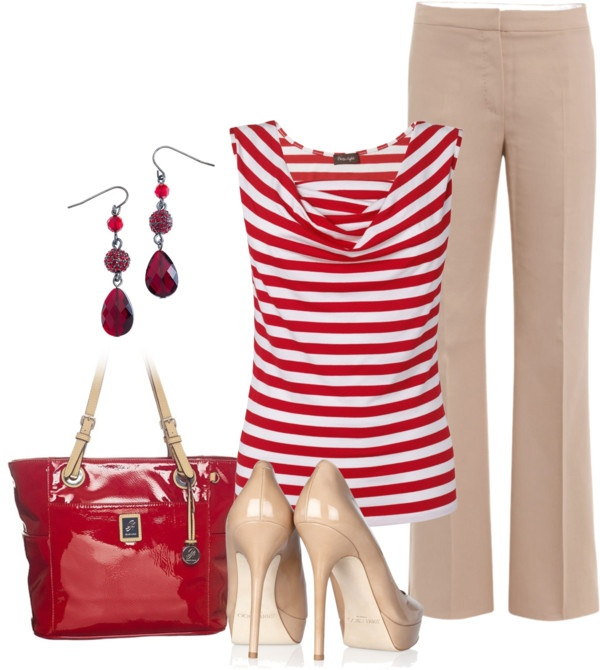 """Never thought of red & white stripes as workable, but this outfit totally """"works""""!"""