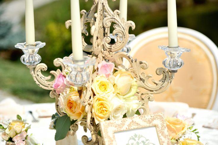 Victorian Glamour Wedding Decor - Gold & Ivory - Elegant, Antique, Vintage, Handpainted, Handmade -Table Setting , Candelabra - by Satori Art & Event Design