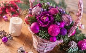Обои цветы, ель, конфеты, шишки, игрушки, свеча, корзина, декор