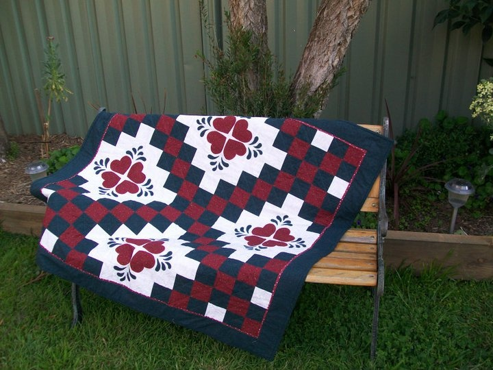 'Hearts and Chains' quilt I made for my friends Isabel andd Gus for their wedding present