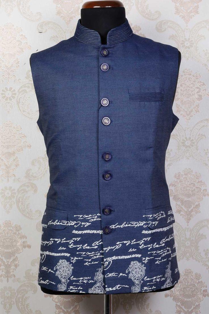 Buy Grey & maroon velvet weaved waist coat with madarin colar  Online