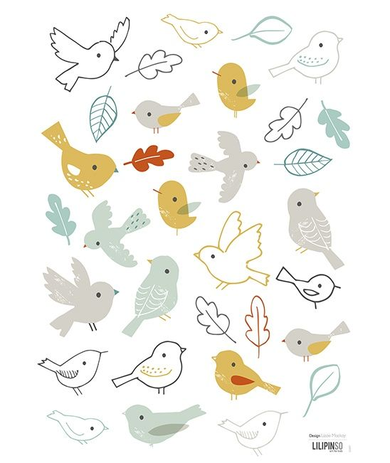 Vogeltjes en bladeren #Muursticker | Gras onder je voeten