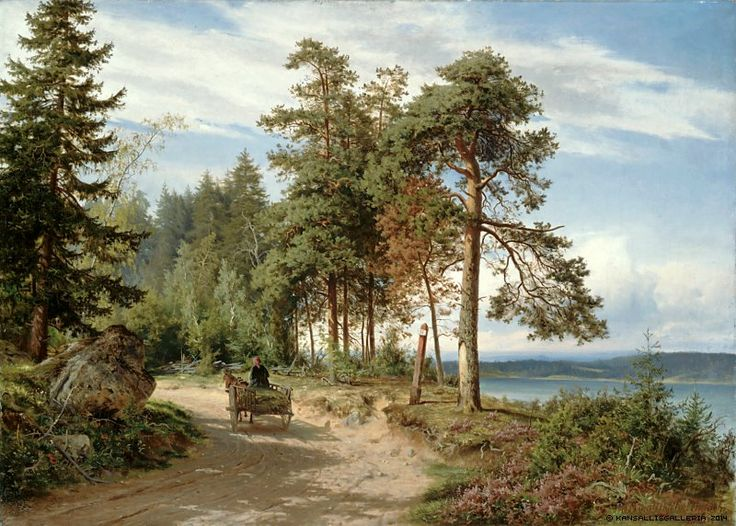 Hjalmar Munsterhjelm (1840-1905) Maantie Suomessa / Road in Finland 1865 - Finland - Finnish horse - woman driving