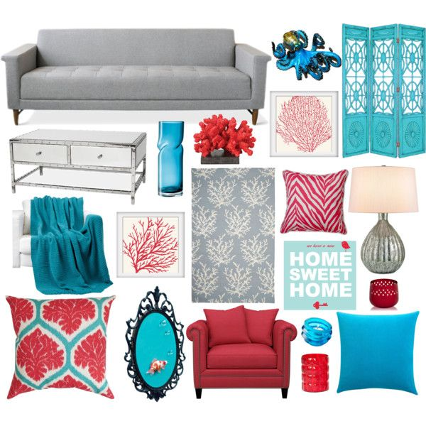 Grey, Red And Turquoise Living Room Decor Part 82