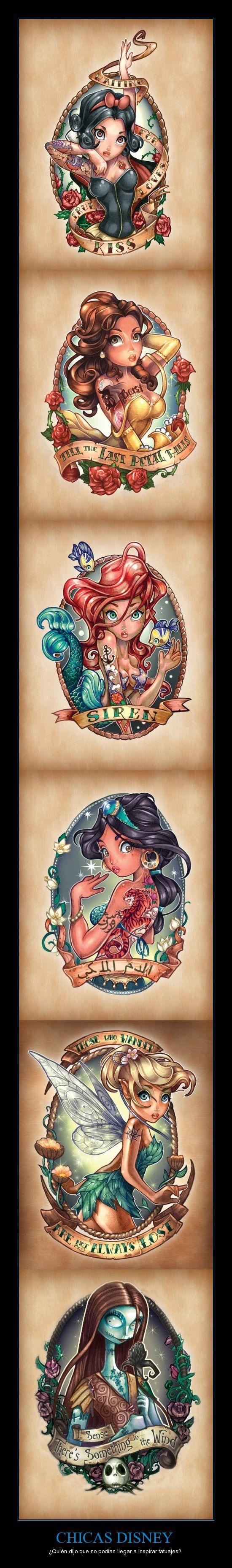 CHICAS DISNEY - ¿Quién dijo que no podían llegar a inspirar tatuajes? Translate please. Hehe.
