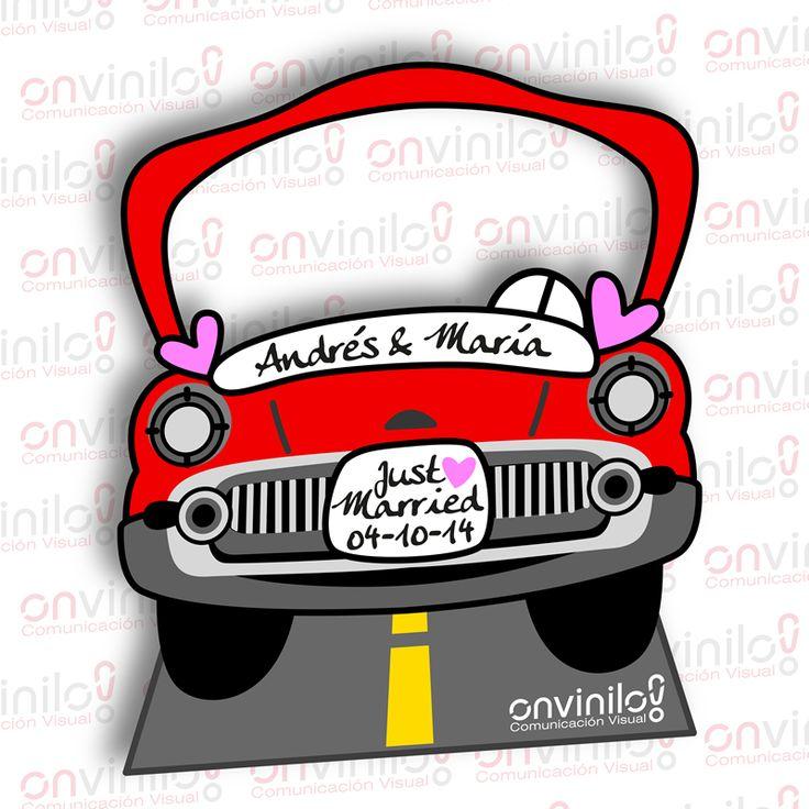Photocall boda silueta coche Onvinilo  Para saber más sobre los coches no olvides visitar marcasdecoches.org