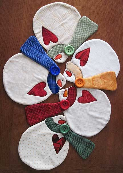 """snowman table runner from the art to heart book easy does it for winter"" - sonya's snippets"