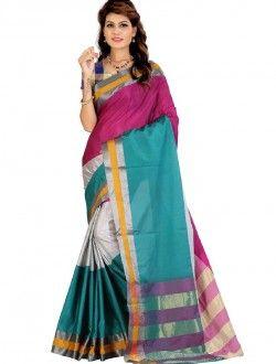 Daily Wear Multi Colour Cotton Silk Printed Saree
