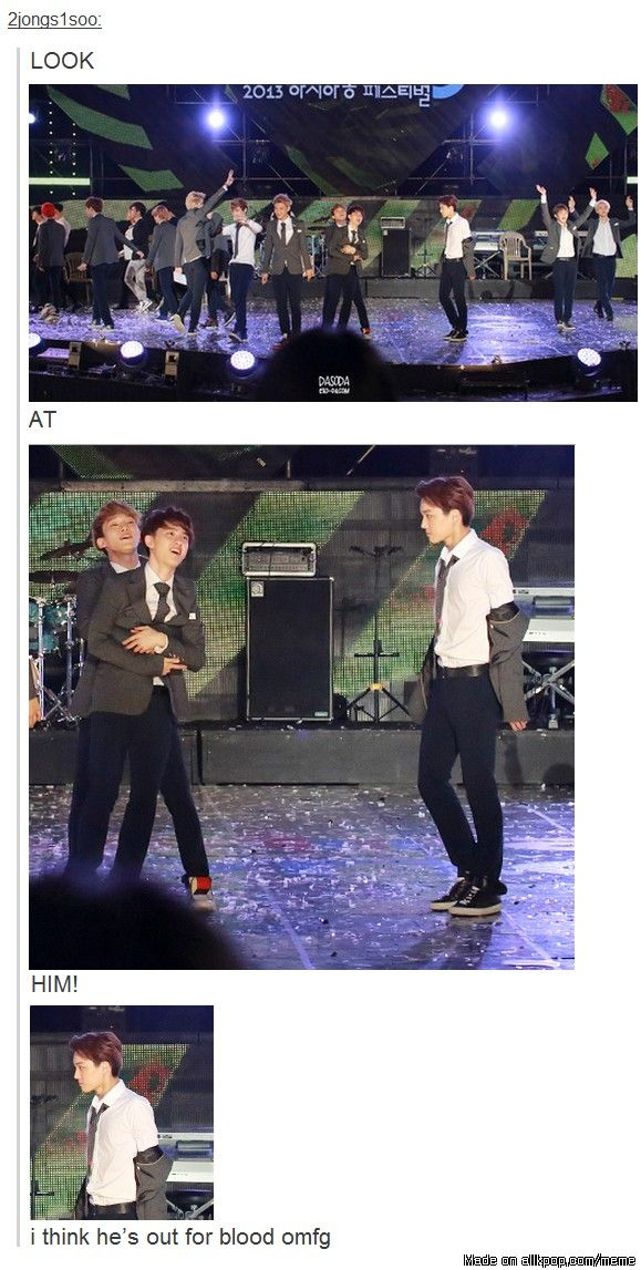 Someone seems a bit jealous.. Kaisoo ♥ -> again, someone managed to take a photo just in the right moment, to make Kai look like a soon-to-be-murderer XD