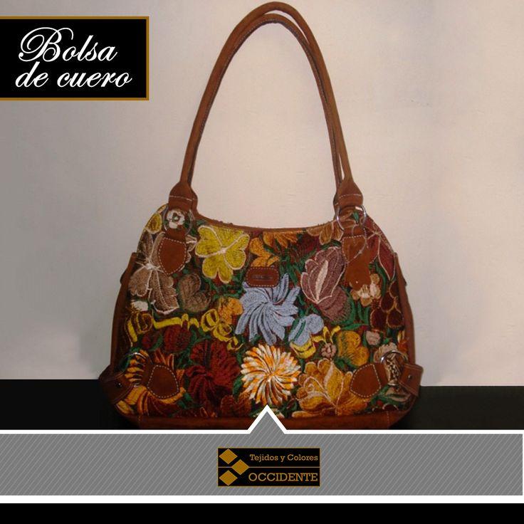 """Bolsa de cuero para Dama, floreada ambos lados, tres bolsas Tamaño: 10"""" x 18"""" Color: café, gena, negro"""