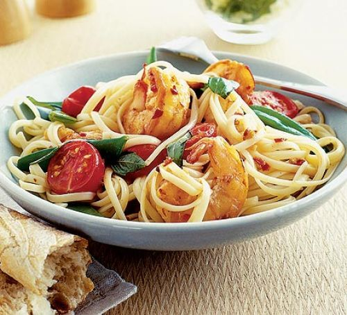Chilli prawn linguine  swap fromage frais for coconut cream, swap tomatoes for somethingelse.