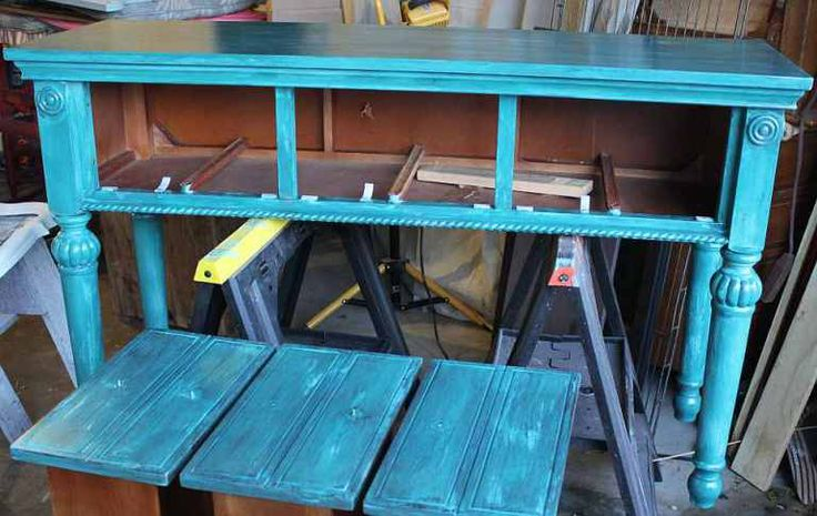 Shizzle Design Painted Furniture Grand Rapids Michigan black teal chalk clay paints sofa console table CeCe Caldwell's Beckley Coal