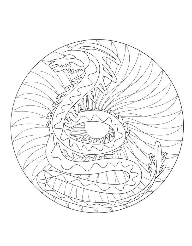 1000 images about mandalas coloring pages on pinterest - Mandala dragon ...