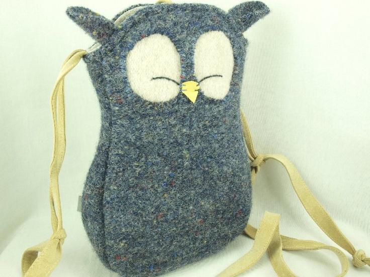 Felted Wool Bag Owl Shoulder Bag Blue Grey Wool Purse  Adjustable Leather Strap Linen Lining Eco Friendly. $38.00, via Etsy.