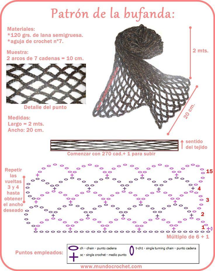 Bufanda sencilla en punto red - Mundo Crochet