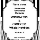 Included is a game/activity, a worksheet that helps students learn better how to order and compare numbers, and a worksheet for practicing comparing and ordering. 13 pages. MCC4.NBT.2 (Ordering and Comparing only). $