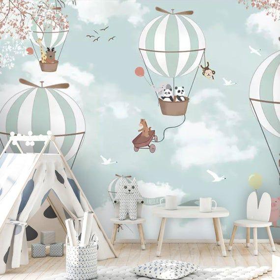 Kids Wallpaper Big Air Balloon Wall Mural Kids Landscape Wallpaper Animals Wall Decor Nursery Wall Art Baby Room Wall Painting
