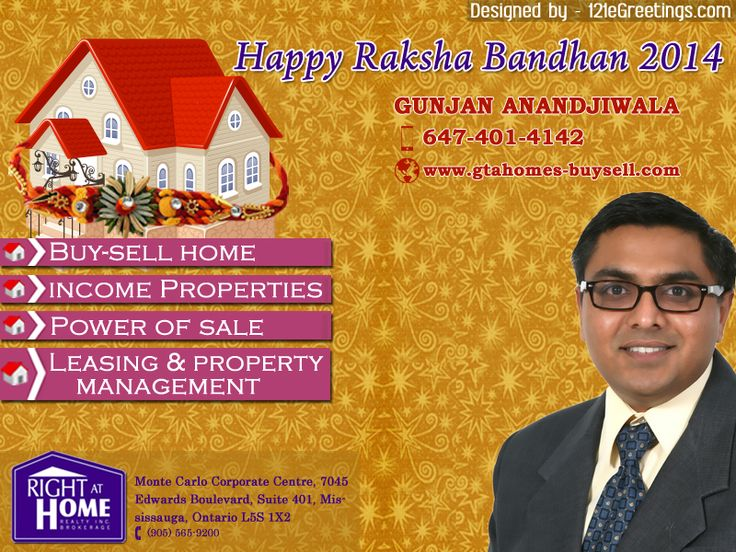 Happy Rakhi to All Brothers and Sisters - The day celebrates the love, care and affection between brothers and sisters. The festival celebrates brother-sister beautiful relationship; it is celebrated by Hindus, Jains and many Sikhs. Warm Wishes, Gunjan Anandjiwala HAPPY #RAKSHABANDHAN #GTAHomesBuySell #121eGreetings #eGreetings #Greetings