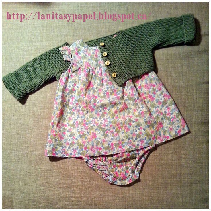 http://lanitasypapel.blogspot.com... free knitting pattern baby jacket one piece patron gratis chaqueta/ torerita / ramera punto bobo de una pieza para bebe talla de 3 a 6 meses tejer /calceta