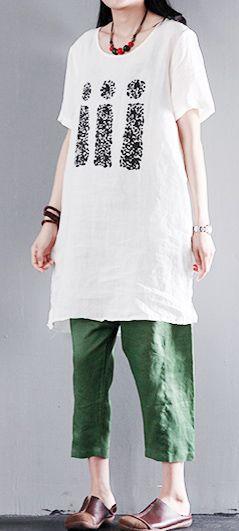 White Linen women shirt dress plus size blouse top - Love our families