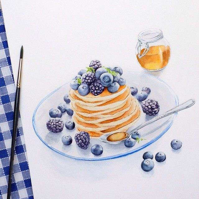 Some pancakes for breakfast? :) #pancakes #breakfast #sketch #skecthbook #Leuchtturm1917es