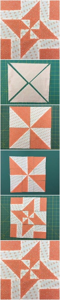 How to make a disappearing pinwheel block Learn how to make this block in less than 2 minutes. Materials Two 9 3/8 inch squares in contrasting fabrics Block size The finished block is 10 1/4 inch s…