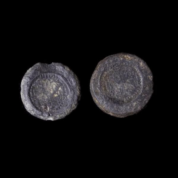 Pair Of Anglo-Saxon Lead Weights With Sceat Impressions, 7th Century A…