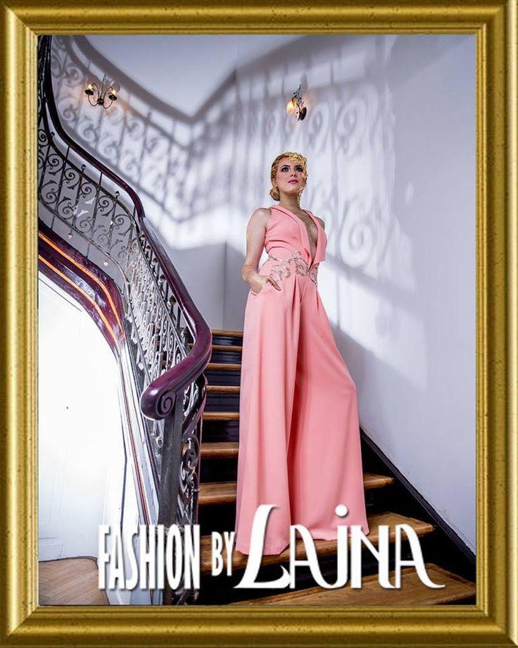 ✓ Fabric: Crepe de Chine - Lace ✓ Color: Peach - Gold ✓ Silhouette: A-line Jumpsuit