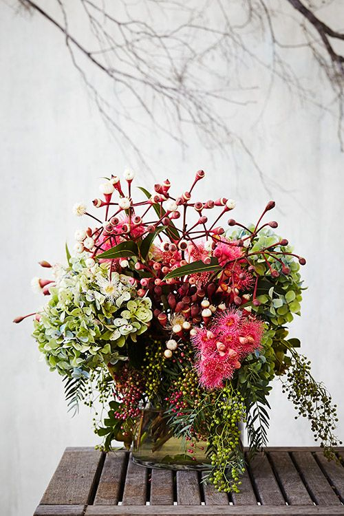 Arranging Flowers with Saskia Havekes, Grandiflora The pail Plants used: Pomegranates, pepper tree, pink and cream flowering gum, hydrangea