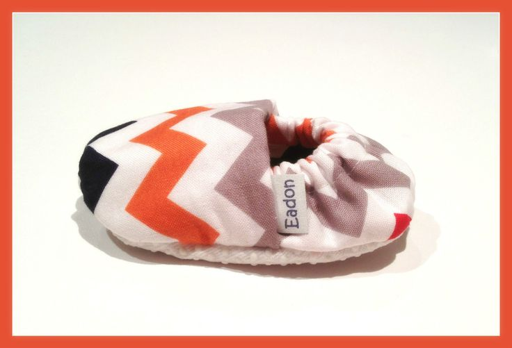Navy, orange, grey chevron baby booties!  www.bellababybooties.weebly.com