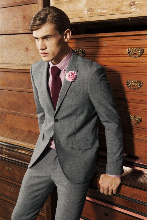 Grey Suit Pink Shirt Yellow Tie