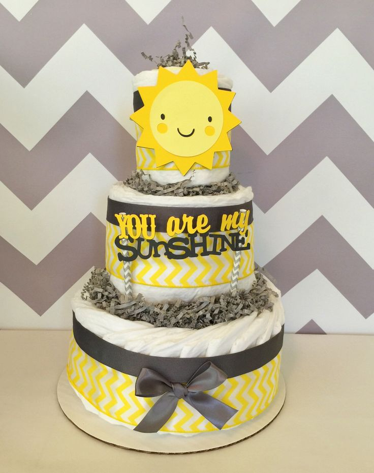 You are My Sunshine Baby Shower Centerpiece by AllDiaperCakes on Etsy https://www.etsy.com/listing/248347037/you-are-my-sunshine-baby-shower