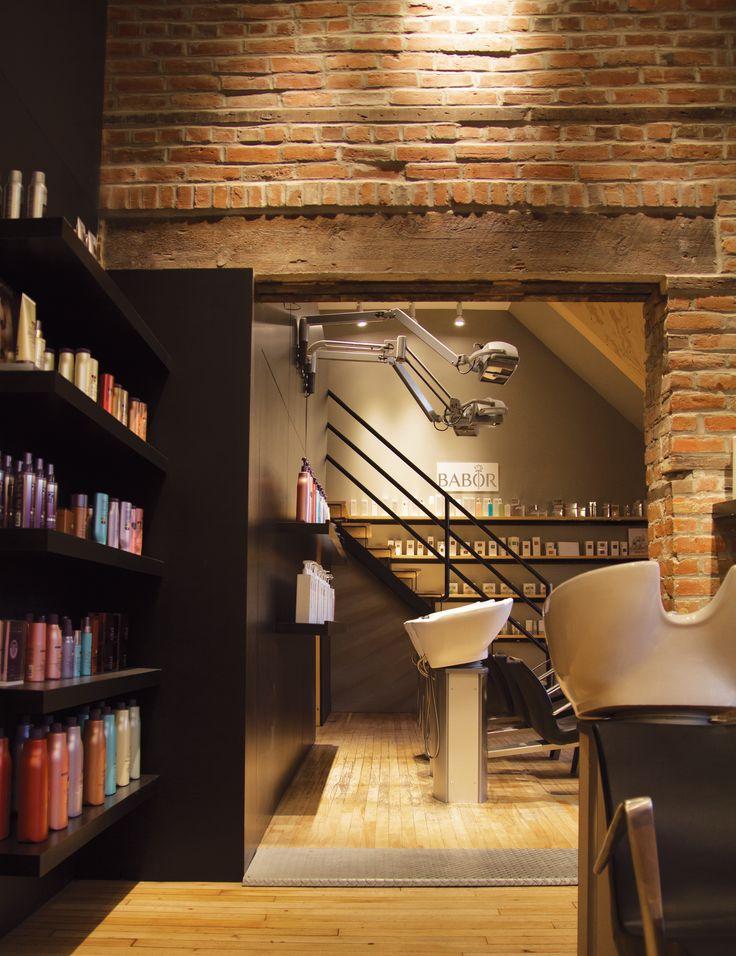 Hair salon design. Brick wall, great lighting, integrated displays. salonpanache.ca