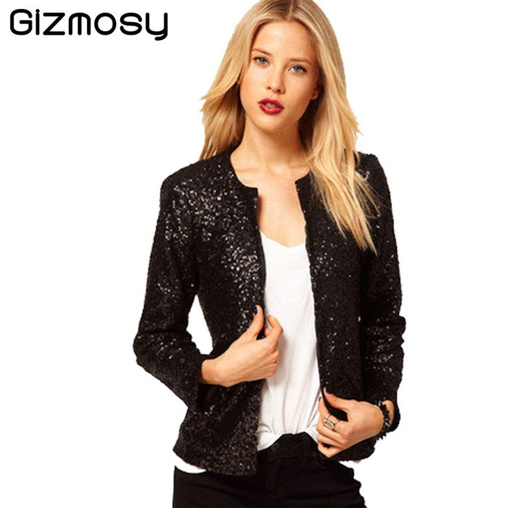 >> Click to Buy << 2017 Spring Women Casual Sequins Coat Long Sleeve Vintage Jacket With Covered Button O-Neck Solid Jacket Slim Suits SY540    #Affiliate