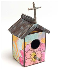 Crafting for my little artist too! Recycled Birdhouse: Birdhouses Create, Birdhouses Church, Birdhouses Tutorials, Birdhouses Birdchapel, Birdhouses Paintings, Recycled Birdhouses, Birdhouses Mod Podge Rocks, Birds House, Birdhouses Ideas